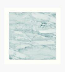 Blasses Teal Sea Green Marble Kunstdruck