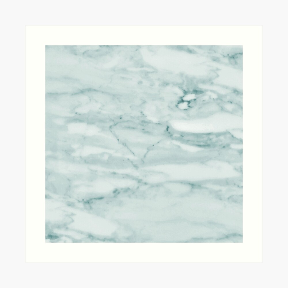 Pale Teal Sea Green Marble Art Print
