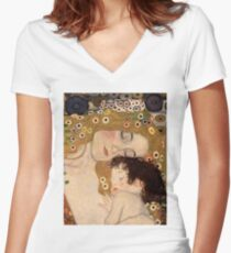 Gustav Klimt, The Three Ages of Woman, 1905 Women's Fitted V-Neck T-Shirt
