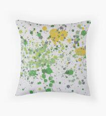 Green Scattered - a paint splatter artwork Throw Pillow