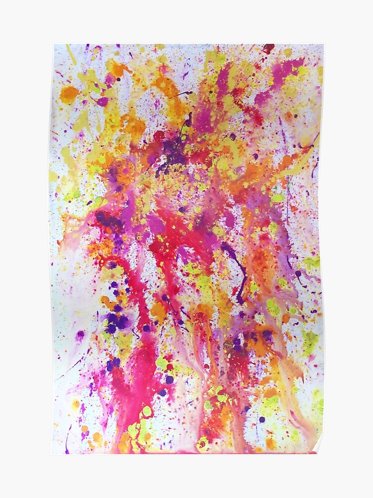 Fire And Water A Paint Splatter Artwork Poster