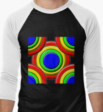.Pattern A-7. .Expanded, Centered - Black. Men's Baseball ¾ T-Shirt