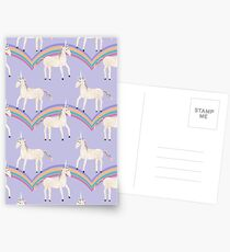 Unicorn Pattern on Pastel Purple Postcards