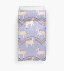 Unicorn Pattern on Pastel Purple Duvet Cover