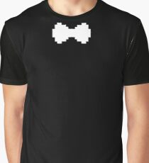 Pixel White Bow Graphic T-Shirt