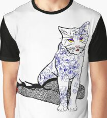 Porcelain Inked Cat Graphic T-Shirt