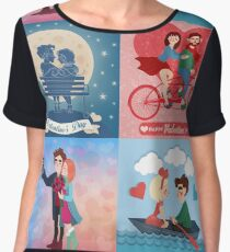 Valentine's Day Cards Set with Young Happy Couple Women's Chiffon Top