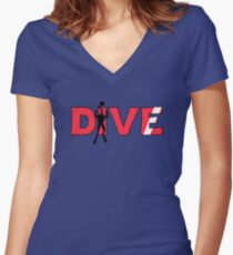 Scuba Diver Dive Flag Underwater Women's Fitted V-Neck T-Shirt