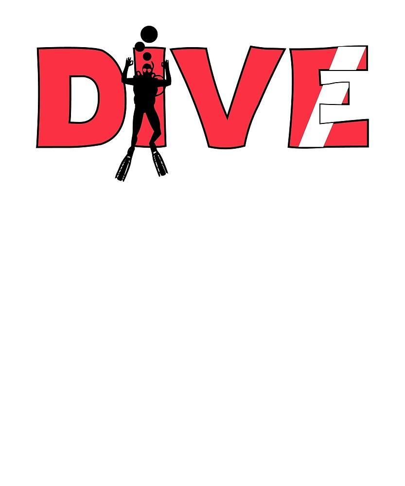 Scuba Diver Dive Flag Underwater by CleverTshirtCo