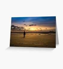 Another Place - Crosby Beach Iron Man at Sunset Greeting Card