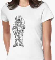 Antique Old Fashioned Ancient Scuba Diver Dry Suit Women's Fitted T-Shirt