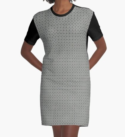 Dots  & Squares in Gray Graphic T-Shirt Dress