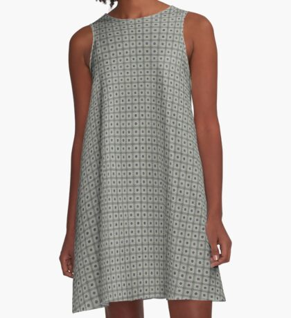 Dots  & Squares in Gray A-Line Dress