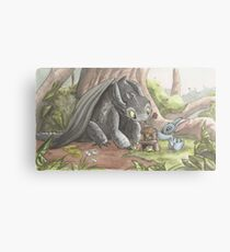 Toothless and Stitch Build a Froghouse Metal Print
