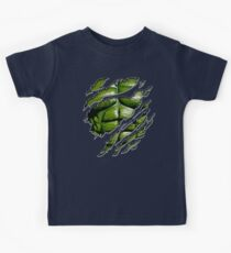 Green muscle chest in purple ripped torn tee Kids T-Shirt