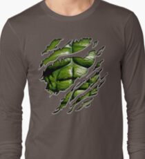 Green muscle chest in purple ripped torn tee Long Sleeve T-Shirt