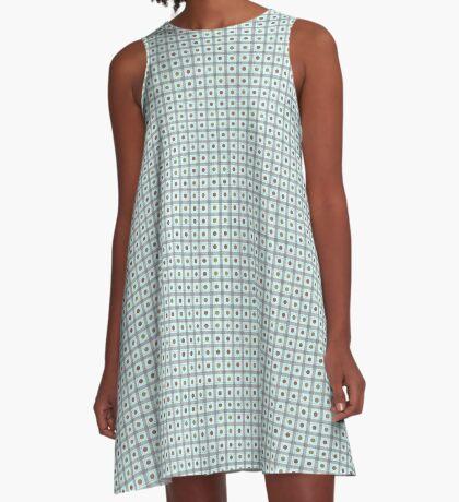 Squares & Dots in Light Blue by Julie Everhart A-Line Dress
