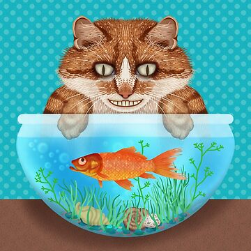 Cat with Goldfish Bowl Funny Hungry Grinning Kitty by emkayhess