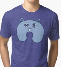 Cute Blue Fluffy Bunny Pattern Tri-blend T-Shirt