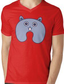 Cute Blue Fluffy Bunny Pattern Mens V-Neck T-Shirt