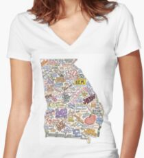 Georgia Music Map Women's Fitted V-Neck T-Shirt