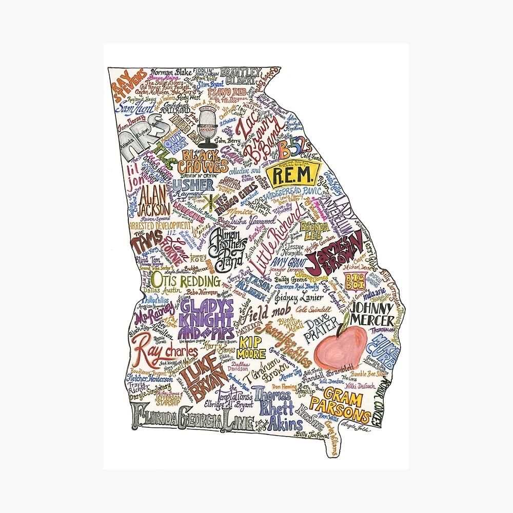 Mapa de la música de Georgia Lámina fotográfica