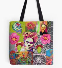 Frida Kahlo and Mexico Collage Pattern Tote Bag