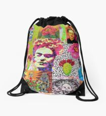 Frida Kahlo and Mexico Collage Pattern Drawstring Bag