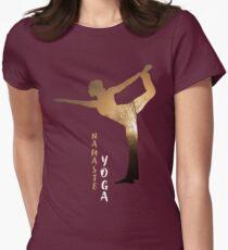 yoga baum namaste indien sport meditation rose pink blume hund budda Womens Fitted T-Shirt