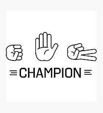 Rock Paper Scissors Champion Photographic Print