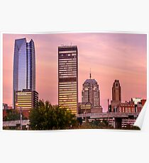 Oklahoma City Downtown Skyline at sunrise Poster