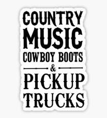 Pegatina Botas vaqueras de música country y camionetas pickup