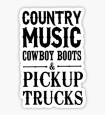 Country Music Cowboy boots and Pickup Trucks Sticker