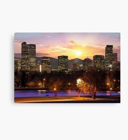 Magical Mountain Sunset - Denver Colorado Downtown Skyline Canvas Print