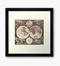 vintage map of the world Framed Print