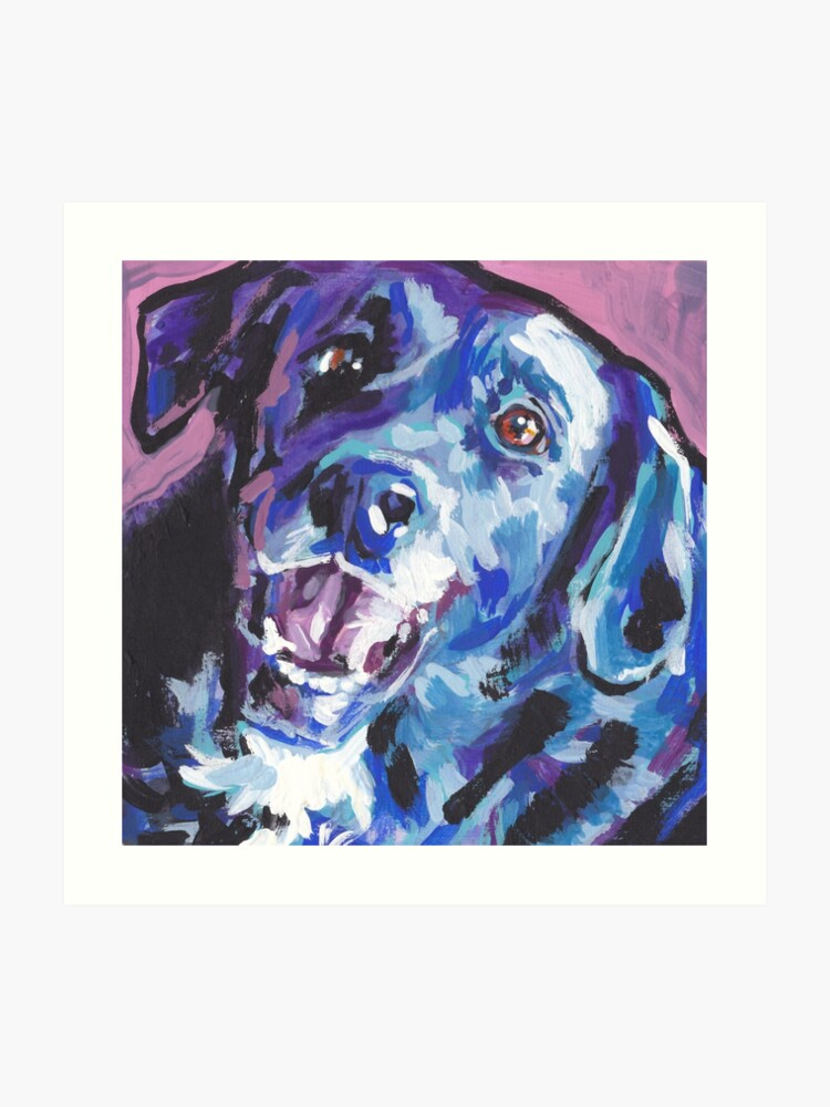 Borador border collie lab mix Bright colorful pop dog art | Art Print