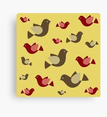 yellow pattern background with colorful flying pigeons Canvas Print