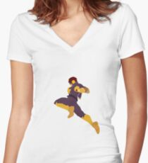Captain Falcon Knee Women's Fitted V-Neck T-Shirt