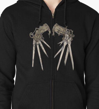 Scissorhands - Sepia   Zipped Hoodie