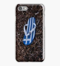 Greek flag on flipflop iPhone Case/Skin