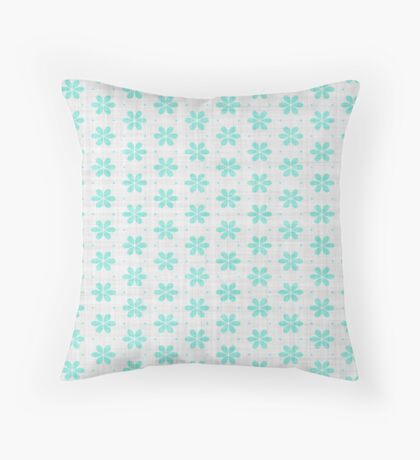 Turquoise  Flower Design by Julie Everhart Throw Pillow