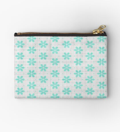 Turquoise  Flower Design by Julie Everhart Studio Pouch