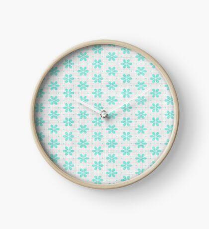 Turquoise  Flower Design by Julie Everhart Clock