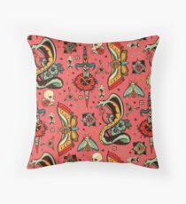 Pink Flash Tattoo Pattern Throw Pillow