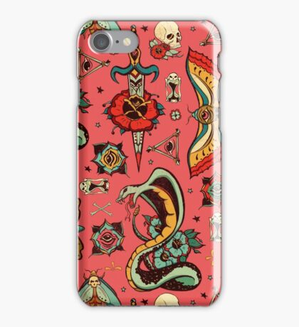 Pink Flash Tattoo Pattern iPhone Case/Skin