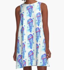 Blue Jellies; Jellyfish; Oceanlife; Sea; Beach; Aquatic; Fish A-Line Dress