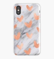 Valentines Day Marble Rose Gold Hearts Shimmery Pink Marble Design iPhone Case/Skin