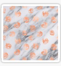 Valentines Day Marble Rose Gold Pink Roses Pattern on Black and White Marble Sticker