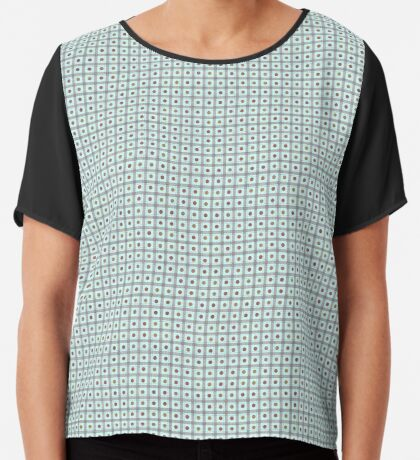 Squares & Dots in Light Blue by Julie Everhart Chiffon Top