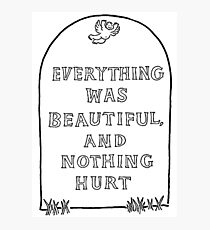 Everything was beautiful and nothing hurt Photographic Print